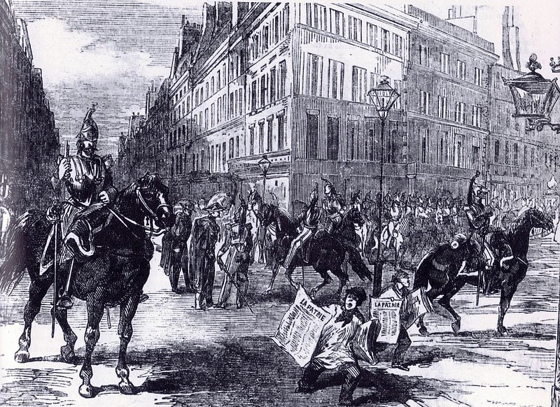 Cavalry of General d'Allonville in the streets of Paris during French coup d'état of 1851