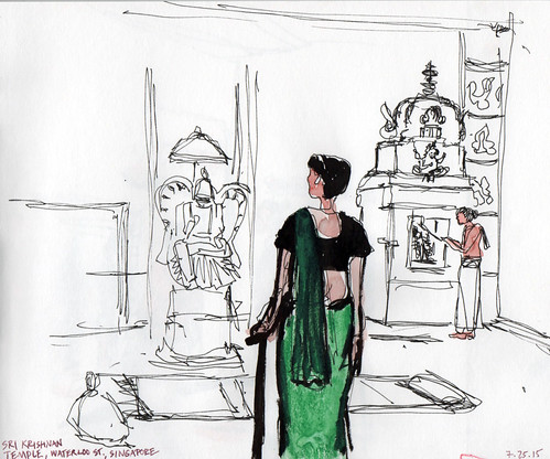 Lady in green, Sri Krishnan Temple, Singapore