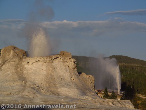 A photo can't capture the experience of seeing one, let alone two, geysers erupt.  Upper Geyser Basin, Yellowstone, Wyoming