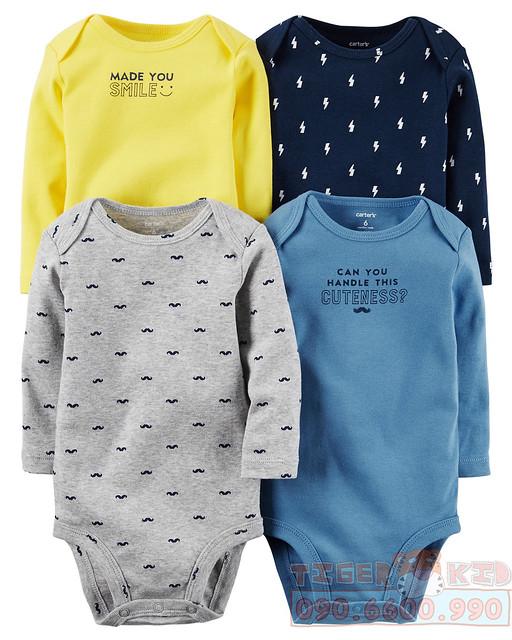 Quần áo trẻ em, bodysuit, Carter, đầm bé gái cao cấp, quần áo trẻ em nhập khẩu, Set 4 bodysuit tay dài nhập Mỹ chính hãng