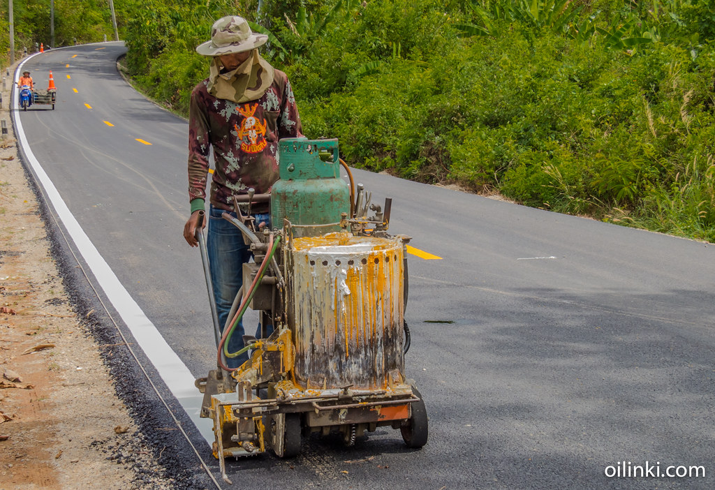 Road painting in Phuket, Thailand