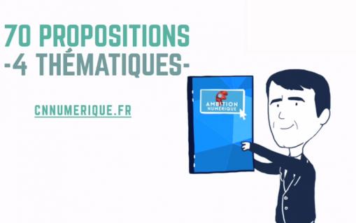 Dessin de Manuel Valls recevant la rapport Ambition Numérique du CNNum