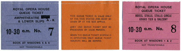 Royal Opera House Queue Tickets, unknown date © ROH Collections