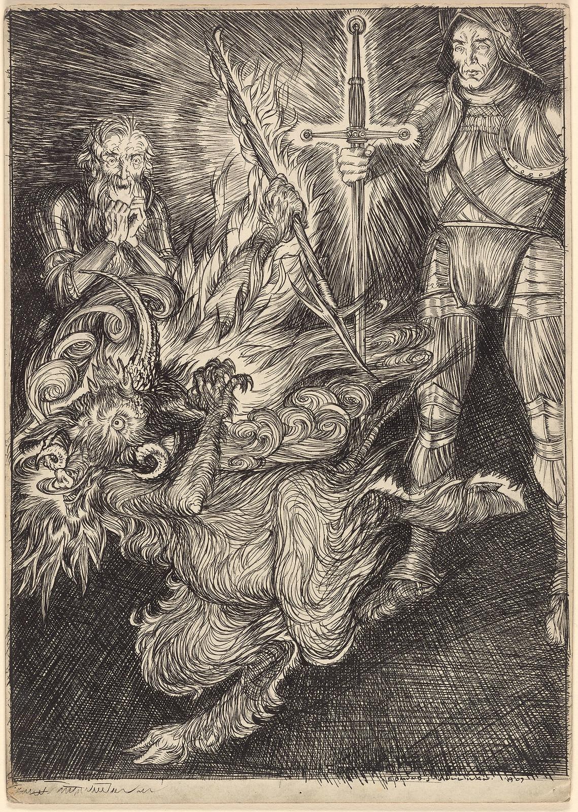 """Edmund Joseph Sullivan - """"Flee, or die!"""", 1907"""