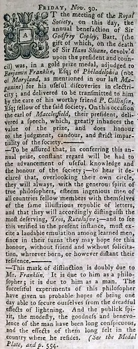 Historical Chronicle December 1753 Copley medal