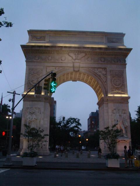 Washington square at dusk