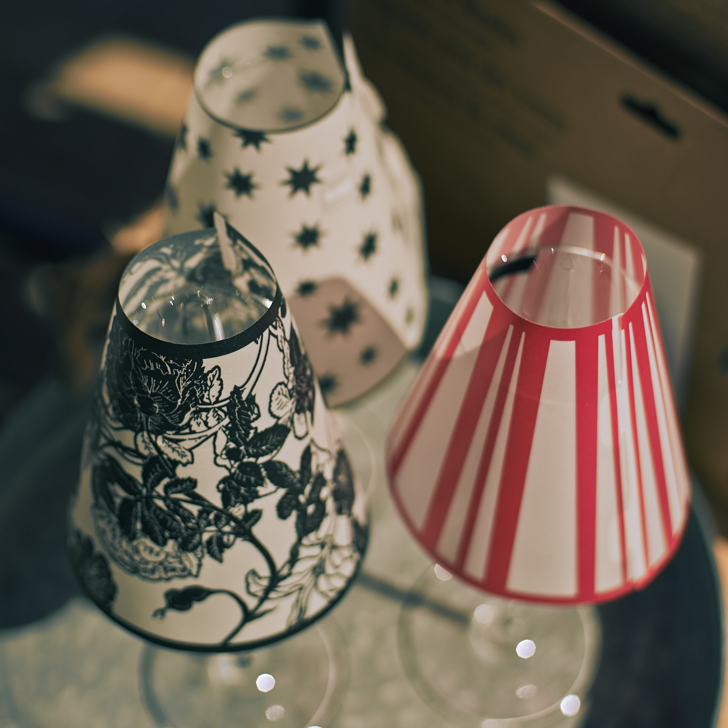 Tiny lamps decor from wine glasses
