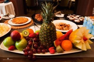 Frutas en el buffet desayuno del Hotel Termal Burgo de Osma