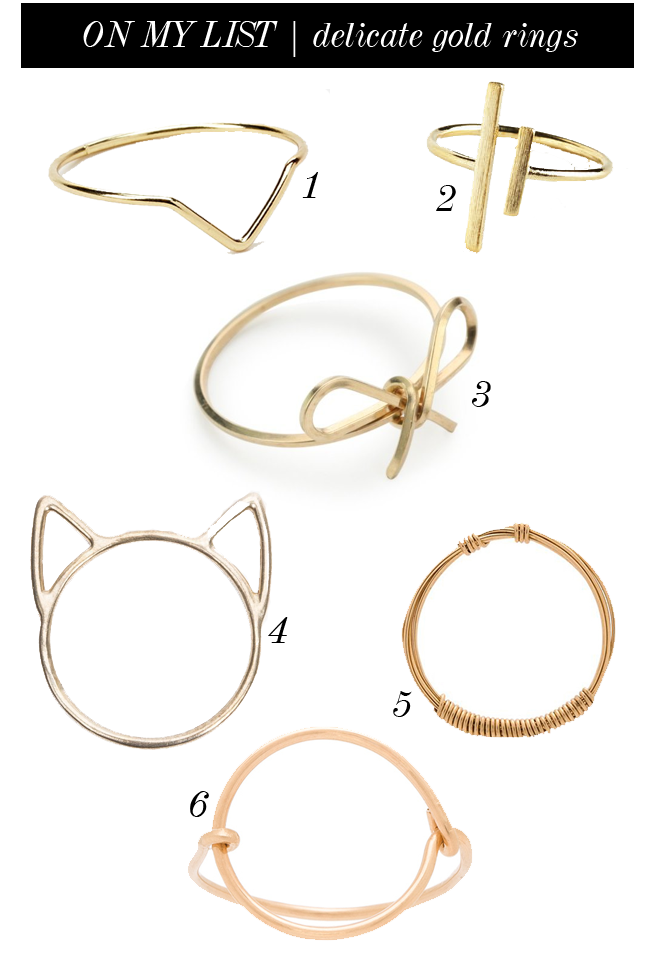 on my list delicate gold rings
