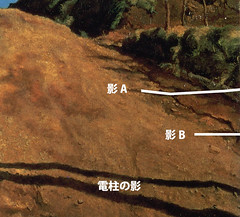 岸田劉生「道路と土手と塀(切通之写生)」 部分注釈付き