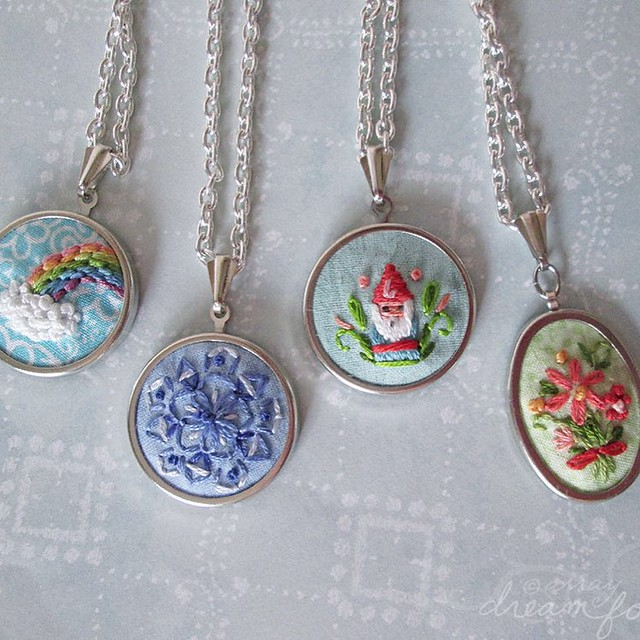 1 inch hand embroidered pendants are back in the shop! #etsy #littledear #embroidery