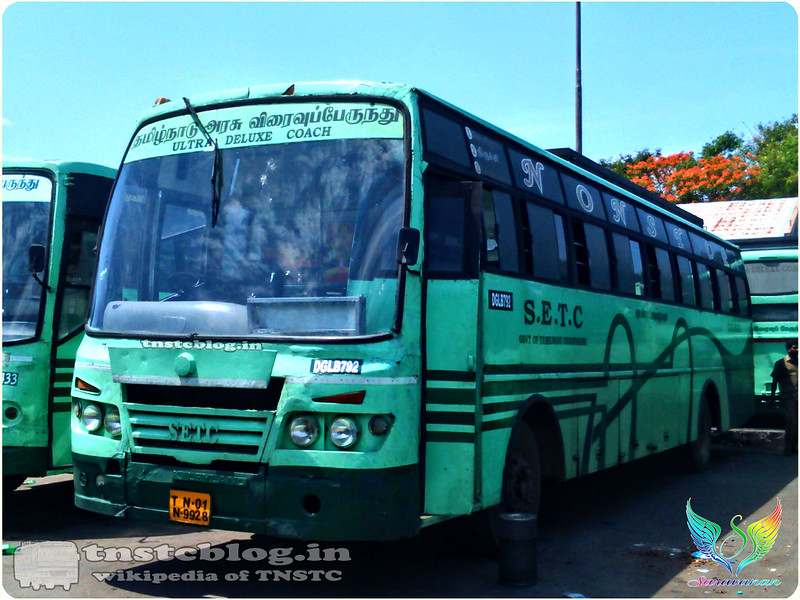 TN-01N-9928 DGL B 792 of Dindigul Depot  Route 151 UD Vedasandur -Chennai via  Dindigul, Trichy.