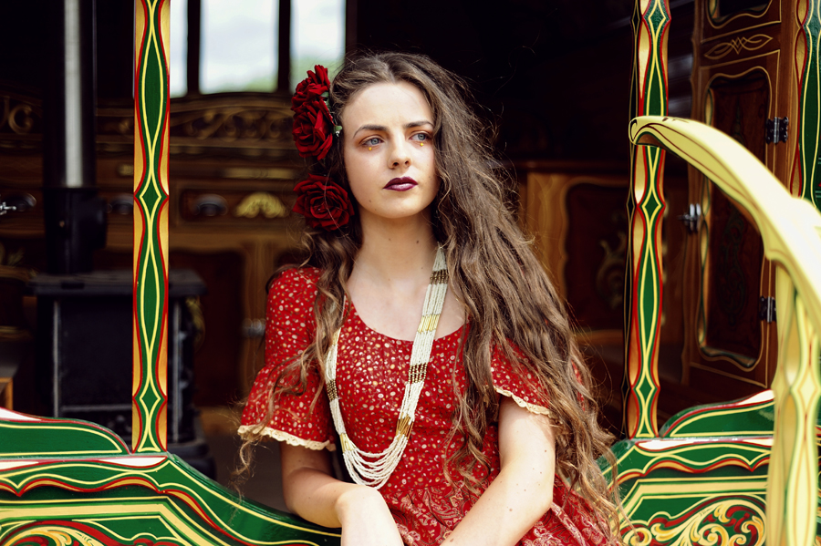 gypsy beauty, long hair, vintage red floral dress