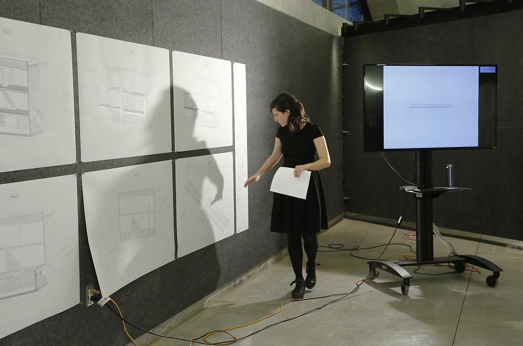 M.Arch. candidate Lindy Foltz presenting her work in Milstein dome.
