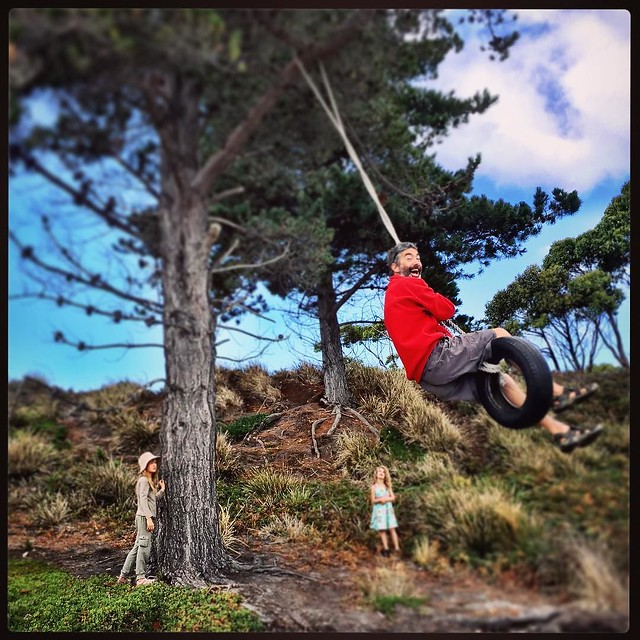 042/365 . • the captain is a swinger on Bruny Island • . #M #swing #beach #tasmania #discovertasmania #tassiestyle #bellalunaboat #Summer2017 #cruising