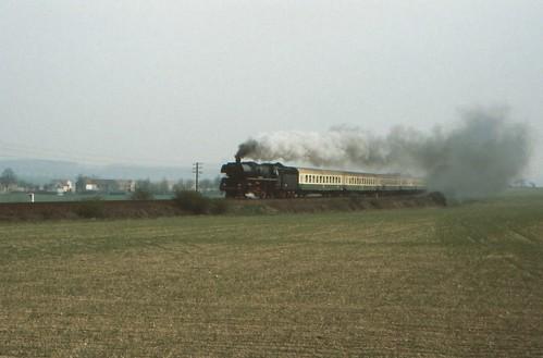 1991-04-28; 005. DR 03 1010 met E801. Niederpöllnitz. Plandampf Saalfeld-Gera
