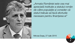 """Mircea Dușa: """"Armata României este cea mai apreciată instituție a statului român de către populație"""""""