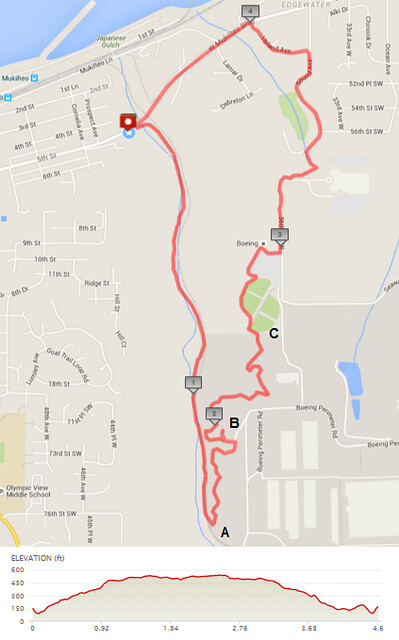 "Today""s awesome walk, 4.6 miles in 1:39, 9,886 steps, 472ft gain"