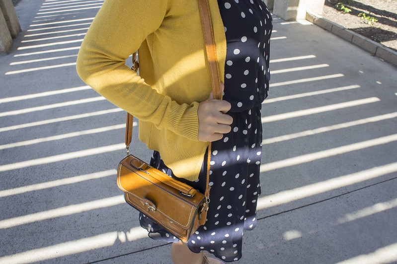 Blue Polka Dot Dress with Yellow Cardigan 2