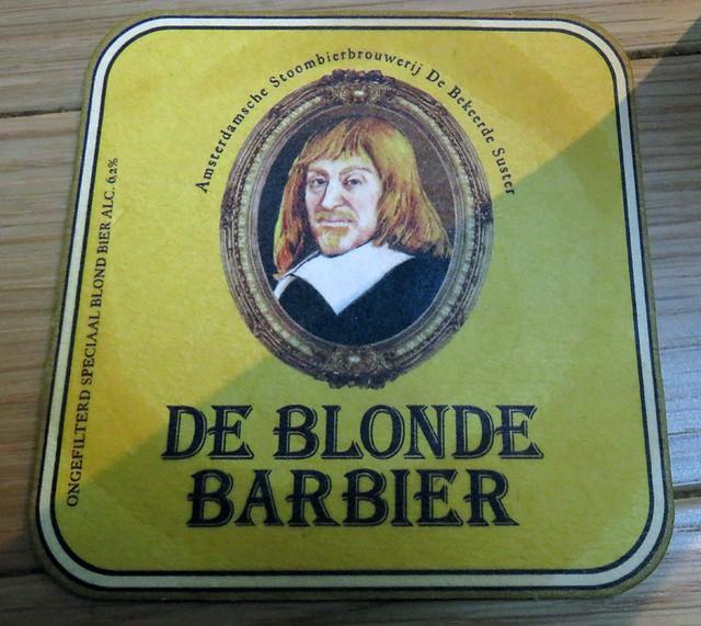 Amsterdam's De Bekeer de Suster Brewpub De Blonde Barbier Beer Coaster