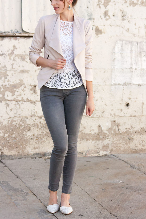 Blush Jacket, White Lace Tee, Grey Jeans, Madewell Flats