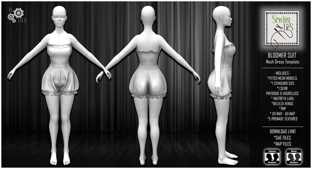 Bloomer Suit Mesh Dress - SewingLies - SecondLifeHub.com