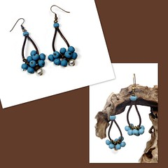 polymer clay Turquoise & Leather Earrings