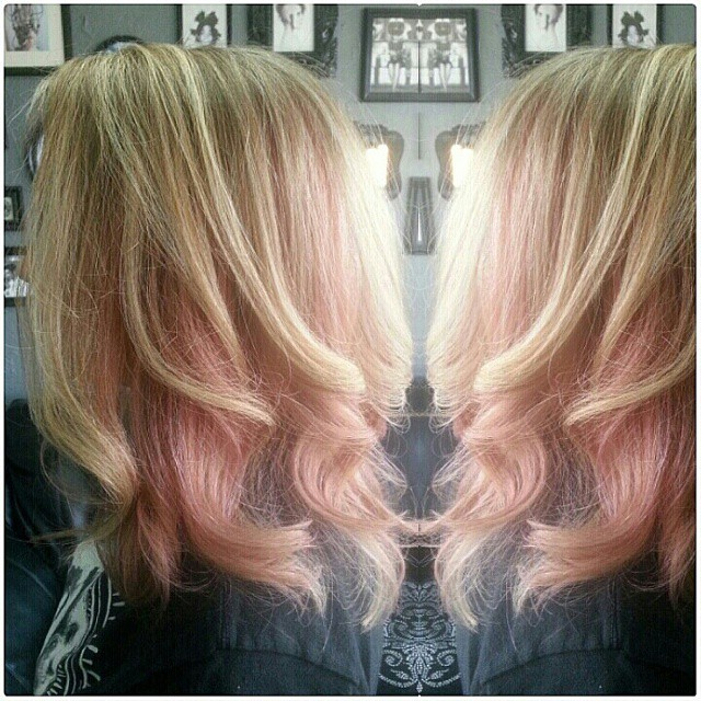 Highlights With Block Pastel Pink Hair Color Highlights With Block