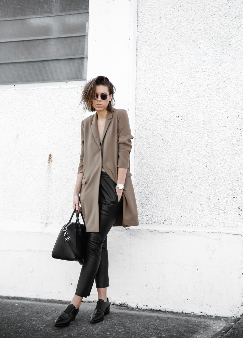 modern legacy, fashion blog, leather pants, street style, loafers, neutrals, Givenchy Antigona Medium, boyfriend blazer, ASOS, minimal (1 of 1)
