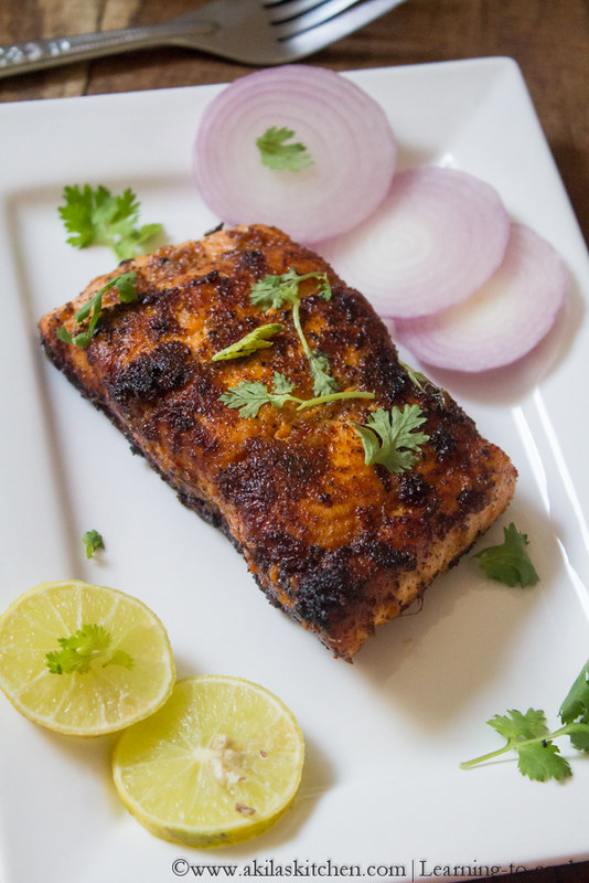 Learning to cook indian style salmon fish fry salmon for Fish fry recipe indian