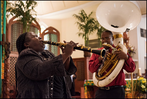 Doreen and Lawrence Ketchens perform before the funeral of Edwin Harrison on October 21, 2016 at St. Peter Caver Church in Treme. Photo by Ryan Hodgson-Rigsbee - rhrphoto.com