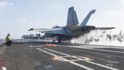 Mon, 02/13/2017 - 07:58 - 170213-N-YL257-060 MEDITERRANEAN SEA (Feb. 13, 2017) An F/A-18F Super Hornet attached to the Black Lions of Strike Fighter Squadron (VFA) 213 launches from the aircraft carrier USS George H.W. Bush (CVN 77). The George H.W. Bush Carrier Strike Group is conducting naval operations in the U.S. 6th Fleet area of operations in support of U.S. national security interests. (U.S. Navy photo by Mass Communication Specialist 3rd Class Christopher Gaines/Released)