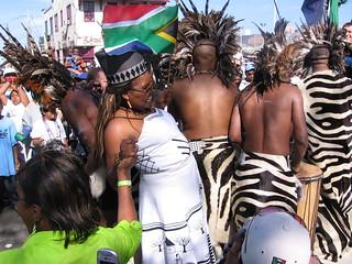 African Zulus march in the Zulu parade