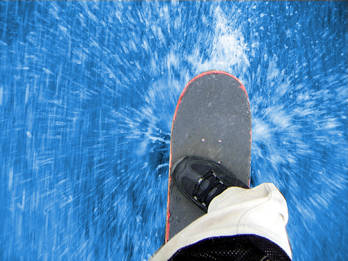 Skateboarding Through Water