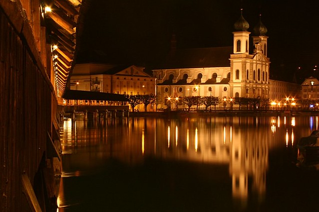 Kappelerbridge and Baroque church at Night - Luzern - Switzerland