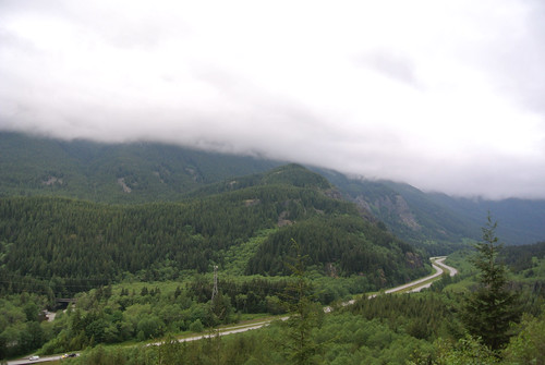 Memorial Day Mini-Tour Day 1 - Clouds rolling down the hills above I-90