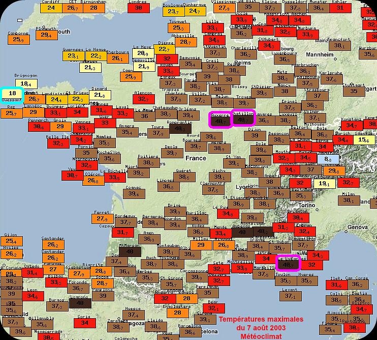 températures maximales caniculaires du 7 août 2003 météopassion