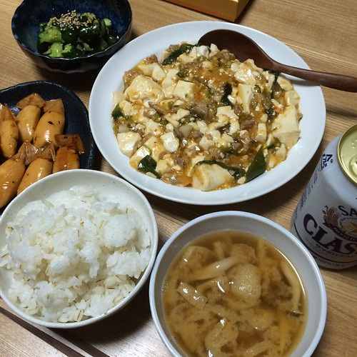 麻婆豆腐ときゅうりの塩昆布を作った