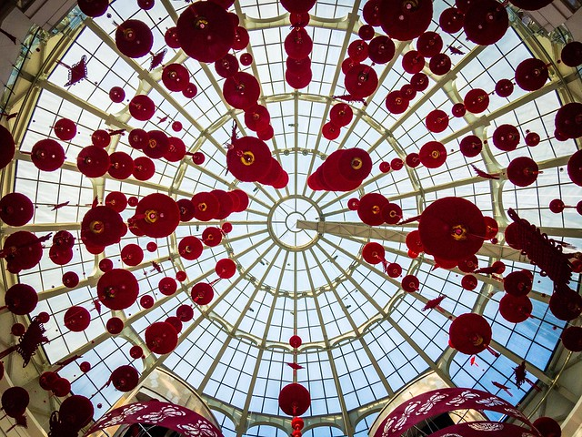 Chinese new year decorations in Shanghai Gateway mall. CNY2017 Shanghai Chinese New Year Ceiling Hanging Pattern Indoors  Low Angle View Illuminated No People Architecture Day