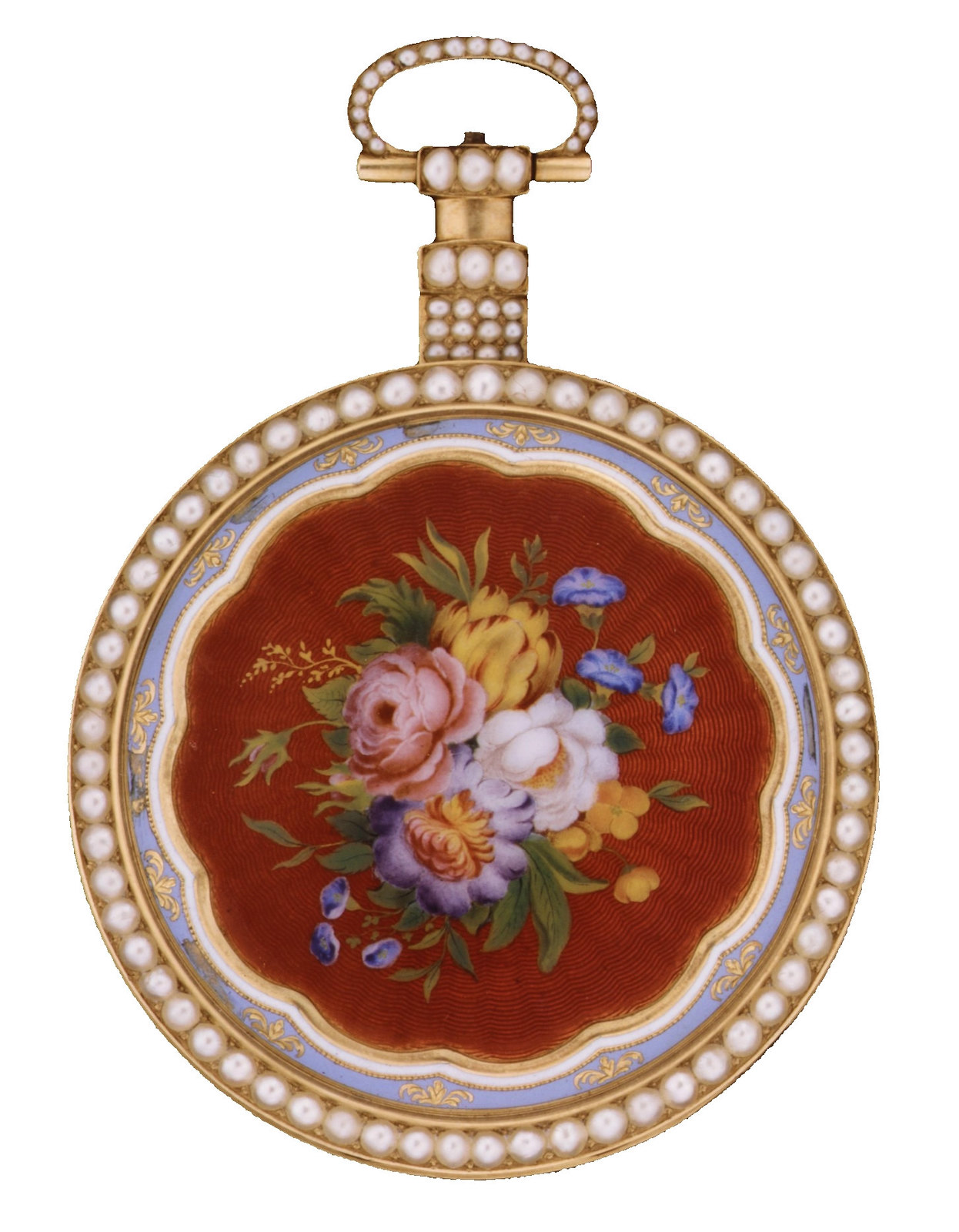 1819. Watch. British, London. Case of gold, enamel, and pearls, with floral design; jeweled movement, with ruby cylinder escapement. metmuseum