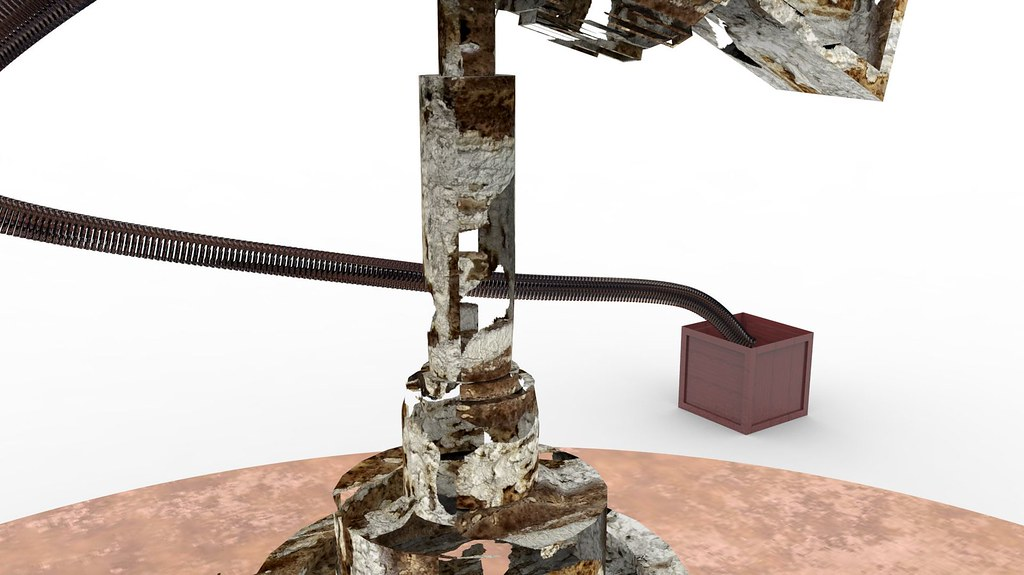 Old Rusted Minigun Textured Model