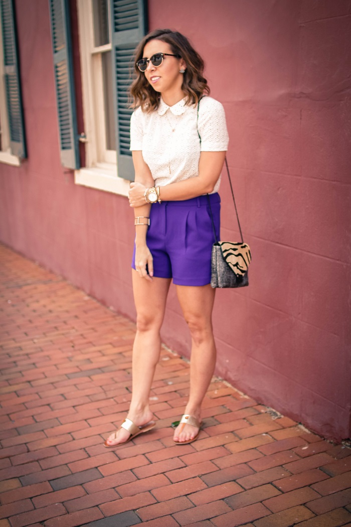 aviza style. andrea viza. fashion blogger. dc blogger. midi shorts. eyelet top. eyelet peter pan collar. joie flip flops. preppy summer style. 15