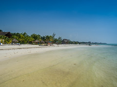 A view from the sea to Playa Holbox on Holbox island, Mexico