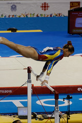 floor gymnastics(0.0), athletics(0.0), pole vault(0.0), high jump(0.0), jumping(1.0), sports(1.0), gymnastics(1.0), gymnast(1.0), artistic gymnastics(1.0), uneven bars(1.0), athlete(1.0),