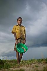 Zambian little girl after fishing, Limulunga, Barotseland, Zambia