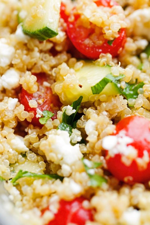 Summer Tomato and Cucumber Quinoa Salad - perfect for when you have leftover quinoa! #vegetarian #quinoasalad #cucumbersalad #tomatosalad #tabbouleh   Littlespicejar.com @LittleSpiceJar