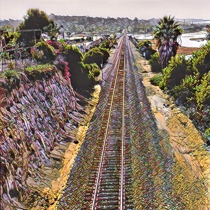 Above the tracks in Del Mar. Seen while cycling. #velonutz #sandiego #bikelife #prisma #bike #delmar #traintracks #winter
