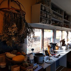 #hjertooshouse #craftroom #porch #backporch #craftarea #pottingshed #dryingherbs #pantry #shelfie #squash #pumpkin