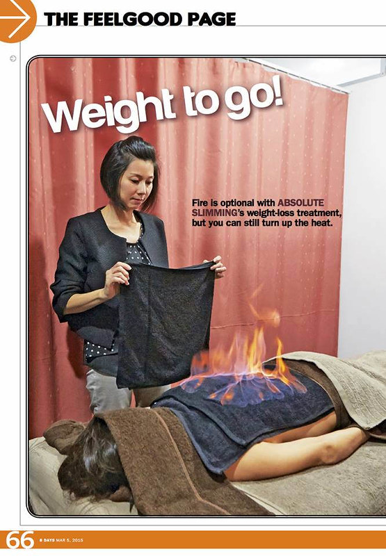 A feature in 8 Days magazine about the Heat Treatment at Absolute Slimming.