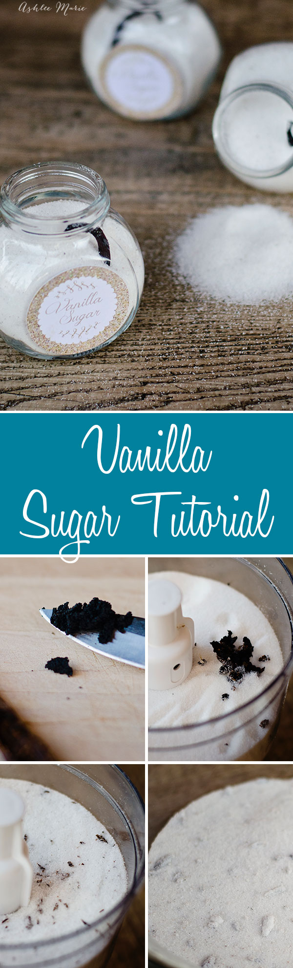 a tutorial for making your own homemade vanilla sugar with printable labels. I actually keep a large batch of vanilla sugar on hand constantly for tons of baked goods